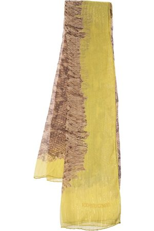 Roberto Cavalli Animal Print Lurex Detail Silk Stole
