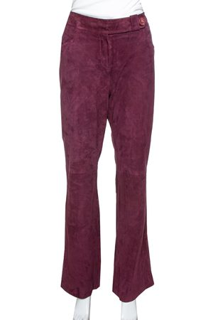 Dior Bordeaux Suede Flared Trousers M