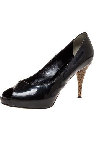 Fendi Black Patent Leather Zucca Print Heel Peep Toe Platform Pumps Size 38.5