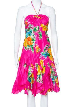 Ralph Lauren Magenta Tropical printed Silk Halter Neck Mini Dress S