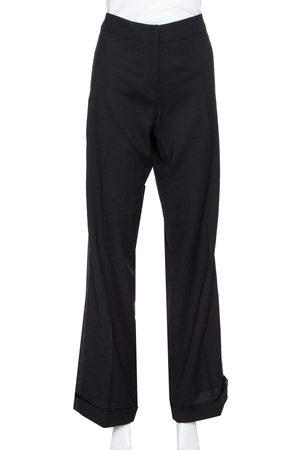 Roberto Cavalli Black Wool Blend Tailored Flared Trousers L