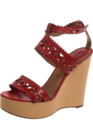 Chloé Red Leather Laser Cut Wedge Sandals Size 37.5