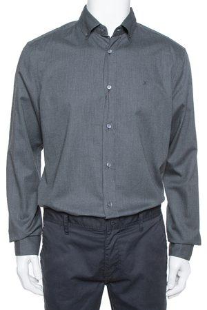 Dior Louis Vuitton Dark Grey Textured Cotton Button Front Shirt XL