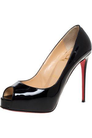 Christian Louboutin Patent Leather Very Prive Peep Toe Platform Pumps Size 35.5