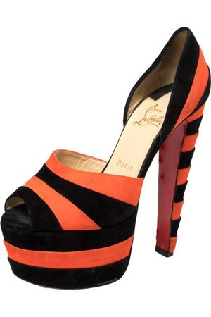 Gucci Christian Louboutin Black/Orange Suede Striped Platform Peep Toe Sandals Size 36