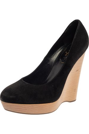 Saint Laurent Saint Laurent Black Suede Maryna Wedge Pumps Size 40.5