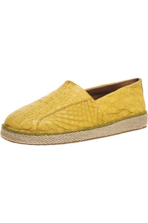 Salvatore Ferragamo Yellow Crocodile Leather Lampedusa Espadrilles Size 44
