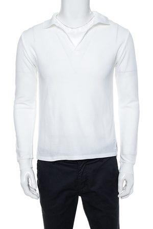 Saint Laurent White Cotton Long Sleeve Polo T-Shirt XL