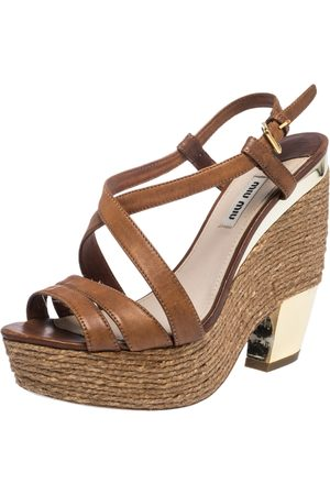 Miu Miu Brown Leather Espadrilles Wedge Platform Cross Strap Sandals Size 38