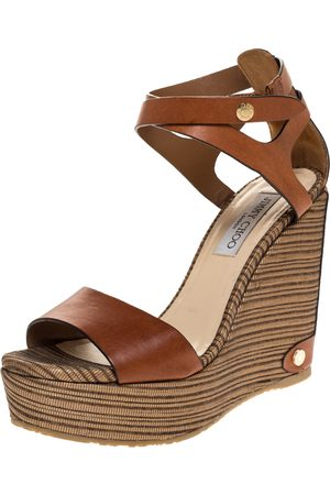 Jimmy Choo Brown Leather And Woven Raffia Wedge Noelle Ankle Strap Sandals Size 39