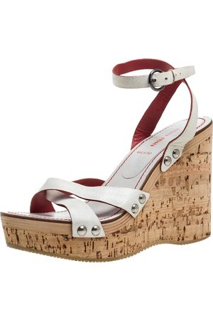 Miu Miu White Leather Cork Wedge Platform Sandals Size 39