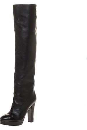 CHANEL Black Leather CC Knee High Platform Boots Size 38
