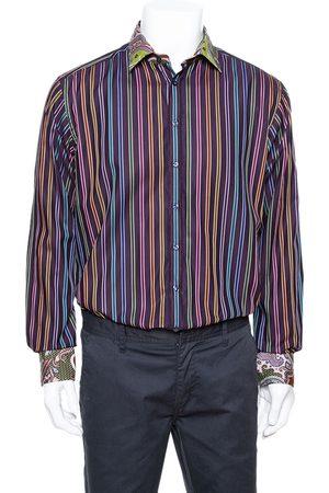 Etro Purple Striped Cotton Printed Collar Long Sleeve Shirt XL