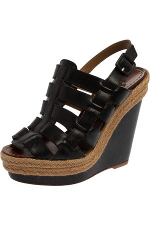 Christian Louboutin Black Leather Barcelona Gladiator Wedge Platform Espadrille Slingback Sandals Size 36