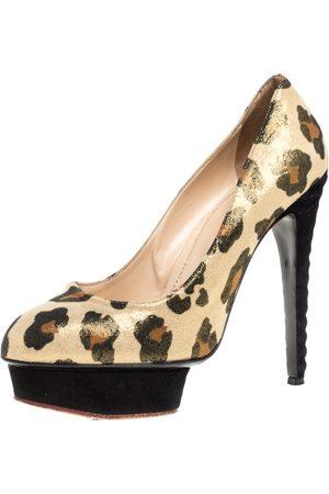 Charlotte Olympia Yellow Glitter Suede Leopard Print Platform Pumps Size 39