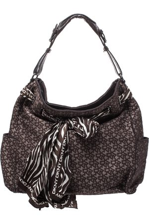 DKNY Brown Signature Canvas Scarf Hobo