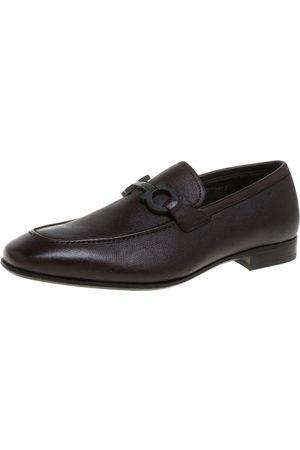 Salvatore Ferragamo Brown Leather Double Gancio Loafers Size 40.5