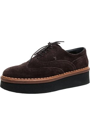 Tod's Brown Brogue Suede Leather Platform Lace Up Oxfords Size 35