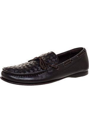 Bottega Veneta Brown Intrecciato Leather Bow Slip On Loafers Size 41.5