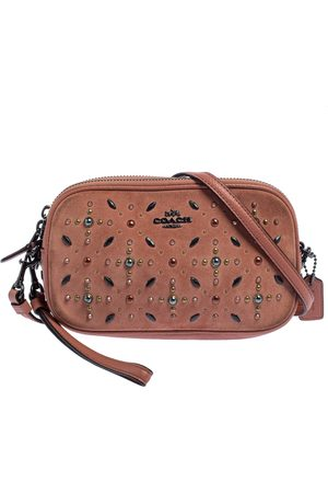 Coach Coral Orange Leather and Suede Rivets Saddie Crossbody Bag