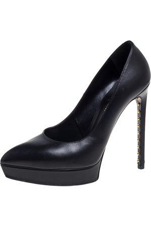 Saint Laurent Saint Laurent Black Leather Janis Pointed Toe Platform Pumps Size 38