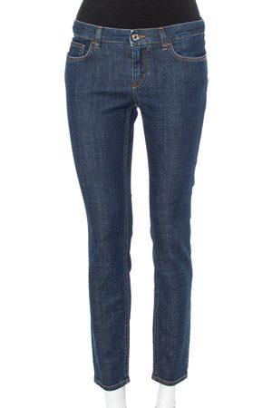 Dolce & Gabbana Navy Blue Denim Contrast Applique Detail Skinny Fit Jeans M