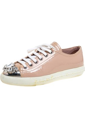 Miu Miu Beige Patent Leather Crystal Embellished Low Top Sneakers Size 37