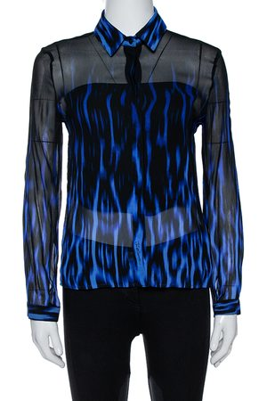 Roberto Cavalli Black/Blue Ombre Silk Long Sleeve Shirt M