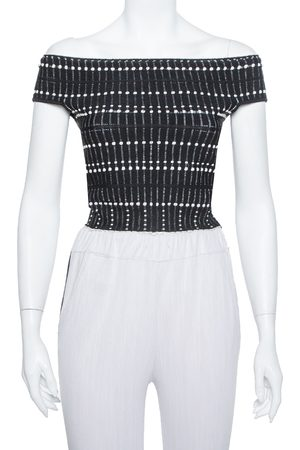 Alexander McQueen Monochrome Knit Boucle Detail Off Shoulder Crop Top M