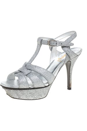 Saint Laurent Silver Glitter Tribute Platform Sandals Size 35.5