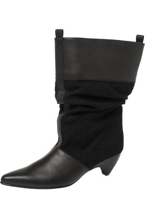 Stella McCartney Black Faux Leather and Canvas Slouchy Ankle Boots Size 36