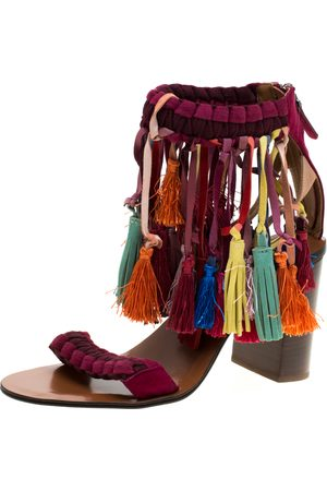 Chloé Multicolor Leather And Suede Tassel Detail Block Heel Sandals Size 36