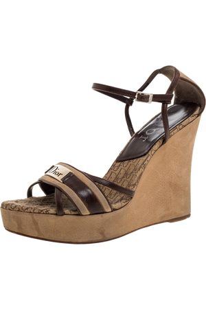 Dior Brown Leather and Suede issimo Wedge Platform Sandals Size 39