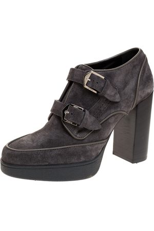 Tod's Grey Suede Leather Platform Buckle Detail Ankle Booties Size 38
