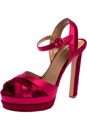 Aquazzura Pink Satin And Velvet Coquette Platform Ankle Strap Sandals Size 38