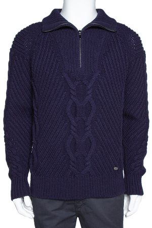 CHANEL Indigo Wool Cable Knit Pullover M