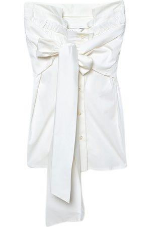 Max Mara Off-White Cotton Poplin Tie-Up Detail Strapless Blouse S