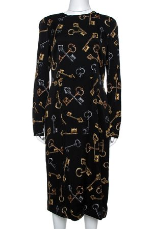 Dolce & Gabbana Black Keys Print Silk Long Sleeve Sheath Dress L