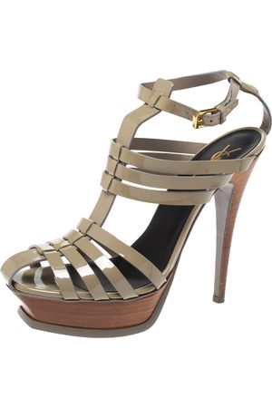 Saint Laurent Grey Patent Leather Tribute Gladiator Platform Sandals Size 39.5