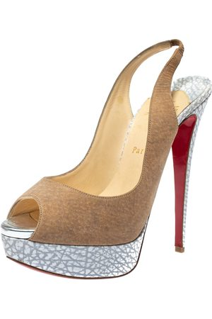 Christian Louboutin Beige/Grey Leather And Suede Platform Peep Toe Slingback Sandals Size 40
