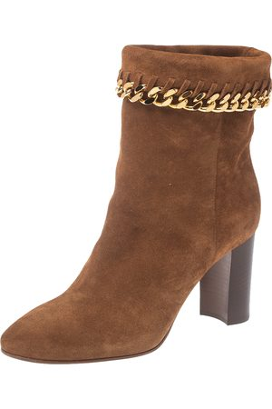 Casadei Brown Suede Renna Chain Trim Ankle Boots Size 37