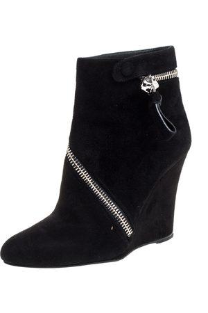 Alexander McQueen Black Suede Skull Wedge Boots Size 40