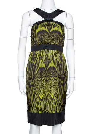 Roberto Cavalli Green Animal Print Jersey Halter Neck Dress M