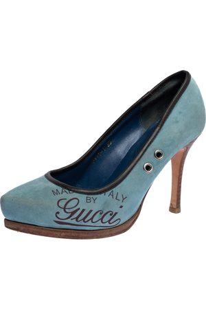 Gucci Blue Suede And Brown Leather Trim Eyelet Embellished Platform Pumps Size 35