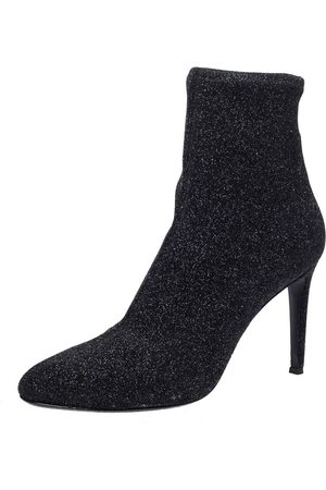 Giuseppe Zanotti Black Glitter Stretch Fabric Pointed Toe Ankle Boots Size 41