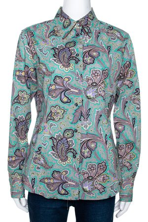 Etro Jade Green Floral Paisley Print Stretch Cotton Long Sleeve Shirt L