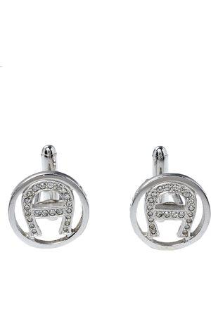 Aigner Crystal Logo Silver Tone Cufflinks