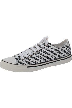 Vetements Black/White Logo Print Canvas Low Top Sneakers Size 41