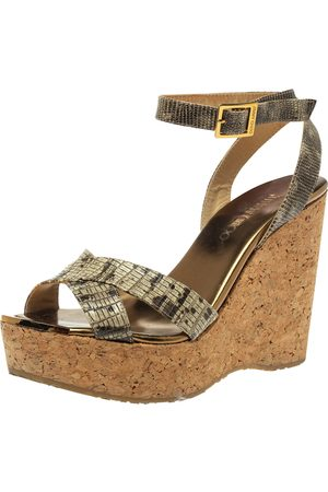 Jimmy Choo Gold/Beige Lizard Embossed Leather Cork Wedge Platform Sandals Size 38.5