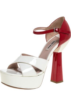 Miu Miu White/Red Patent Leather Platform Cross Strap Sandals Size 38